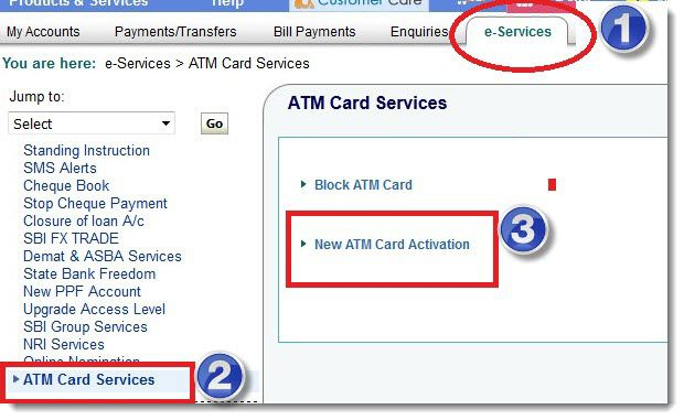 debit card active online sbi