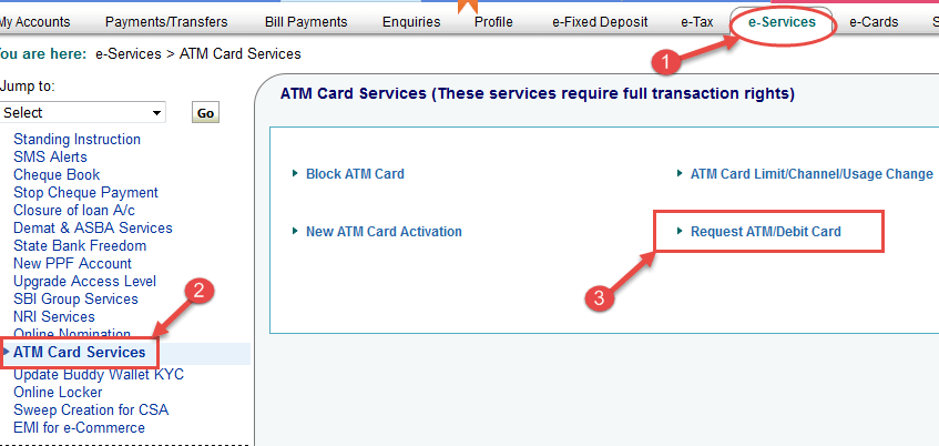 sbi atm debit card apply online