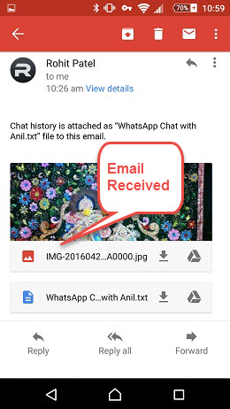 how to send whatsapp message to email endroid phone