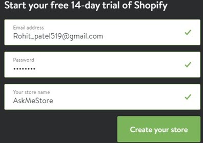 shopify signup