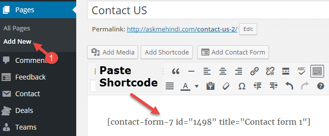 add contact form wordress