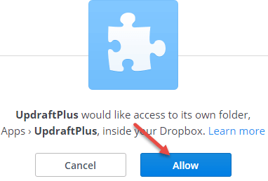 updraftplus dropbox connect