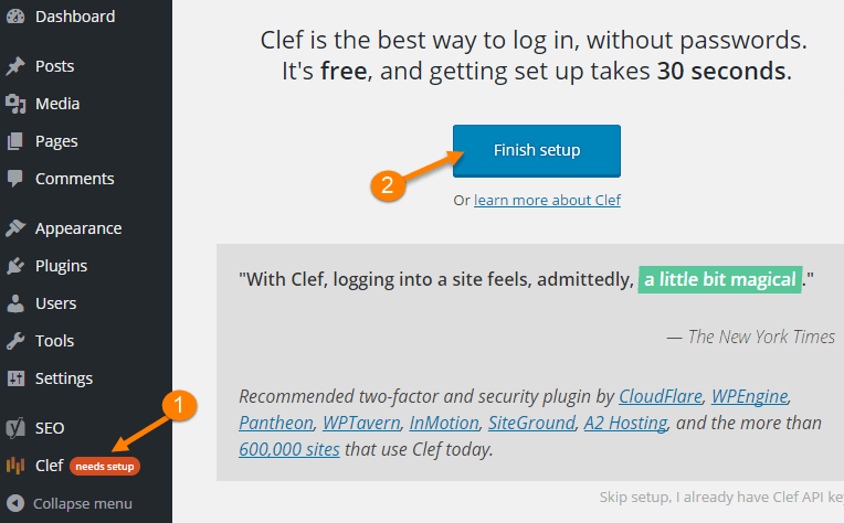 clef wordpress install