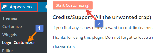customizer plgin setting