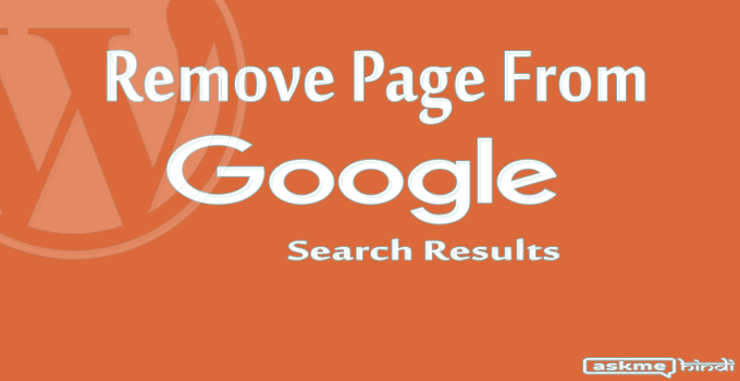 Remove Pages From Google Index