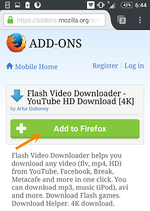 Android firefox install add-on