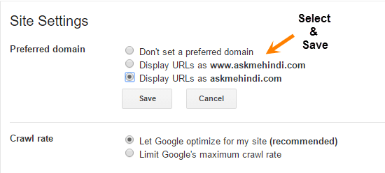 site setting preferred domain