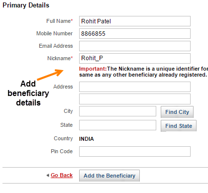 Kotak bank add beneficiary