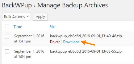 backwpup plugin backup download