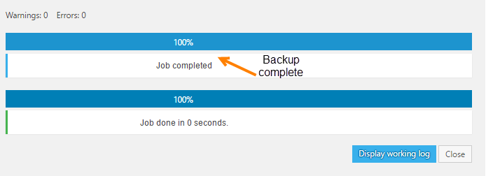 backwpup plugin baclup process