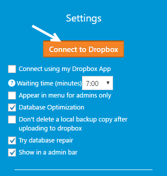 Dropbox backup and Restore Plugin