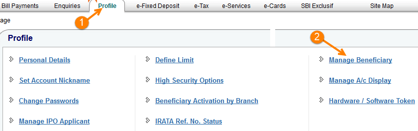 online sbi add beneficiary