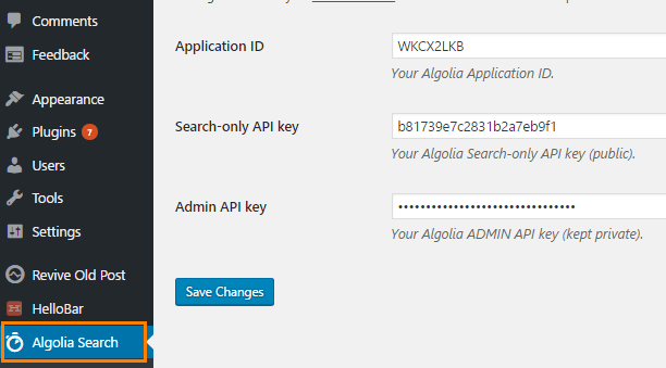 Algolia Search plugin setup