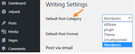 wordpress change default category