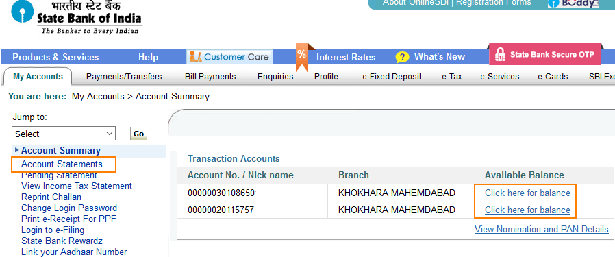onlinesbi my accounts