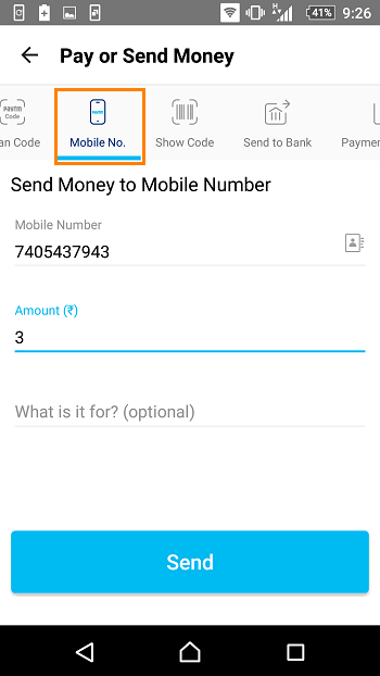 paytm send money mobile number