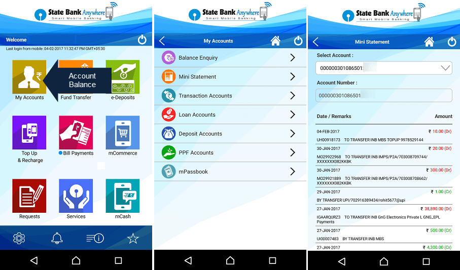 SBI ANywhere Account Balance