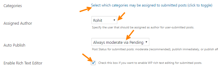 user submitted post plugin configure
