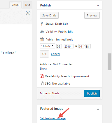 wordpress add featured image