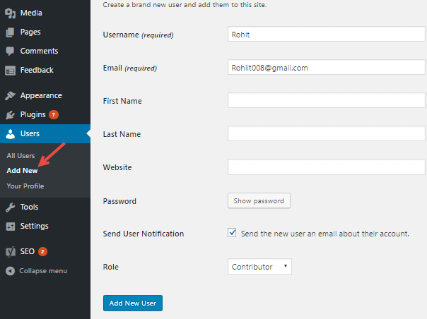 wordpress add user