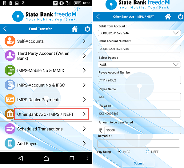 sbi freedom fund transfer