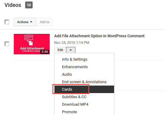 youtube video manager add card