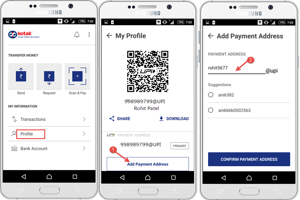 BHIM upi app set payment address