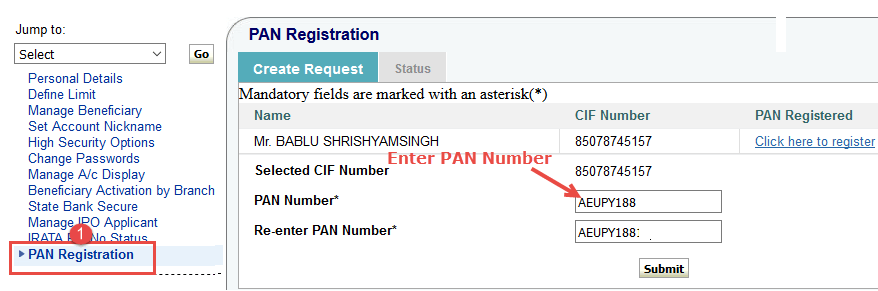 onlinesbi pan card registration