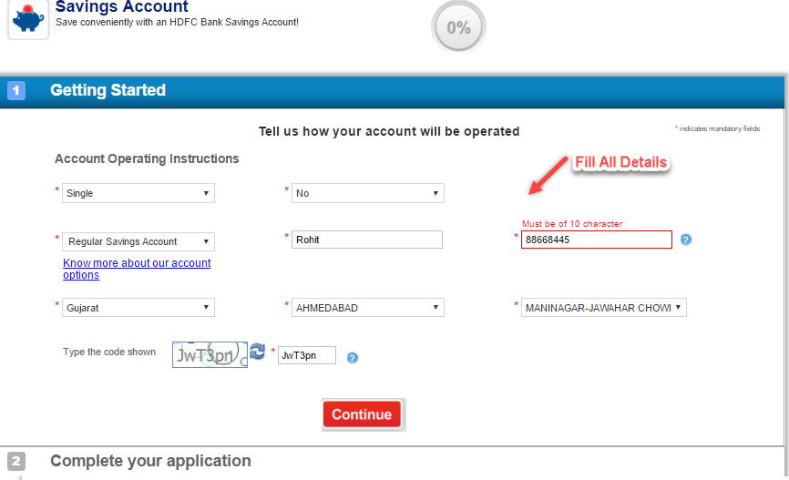 hdfc account apply online