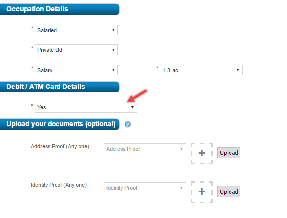 hdfc online apply account