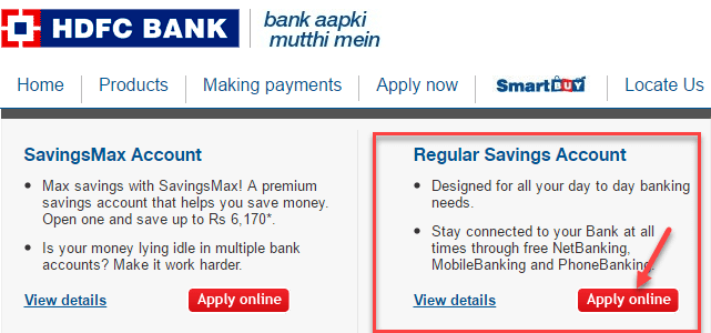 hdfc bank online account opening process