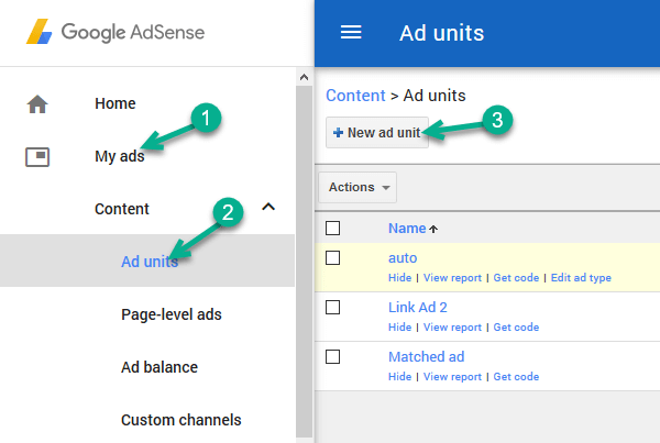 adsense matched content ad unit