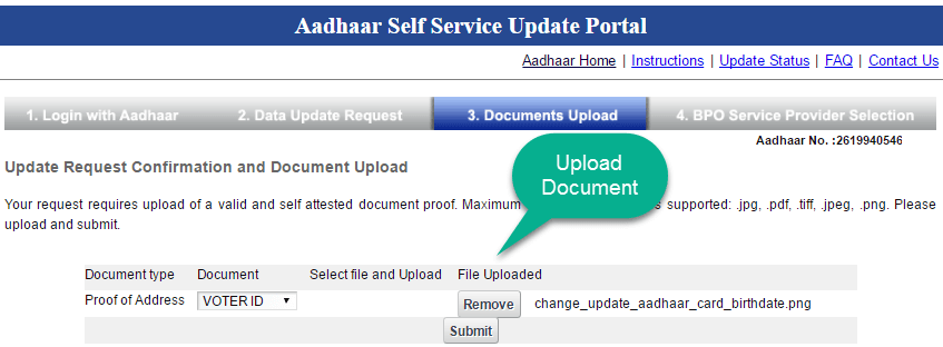 update aadhaar card address online