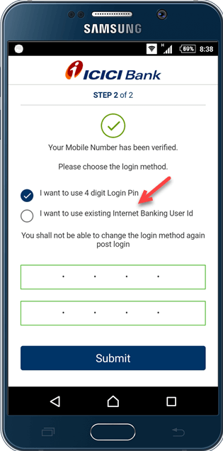 how to change user id in icici internet banking