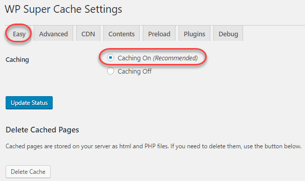wp super cache plugin setup