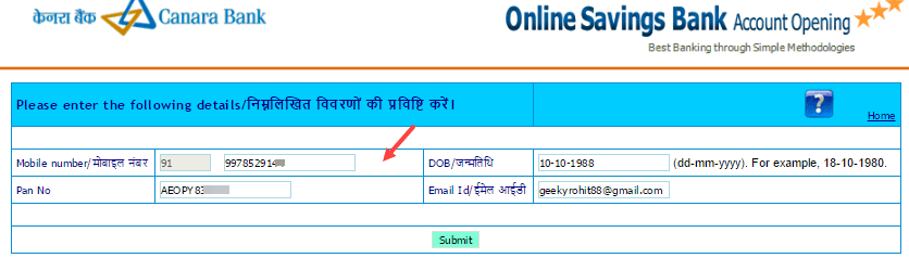 Apply online canara bank saving Account