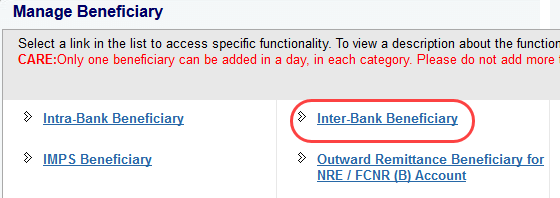 sbi ad interbank beneficiary
