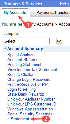 Register E-statement sbi account