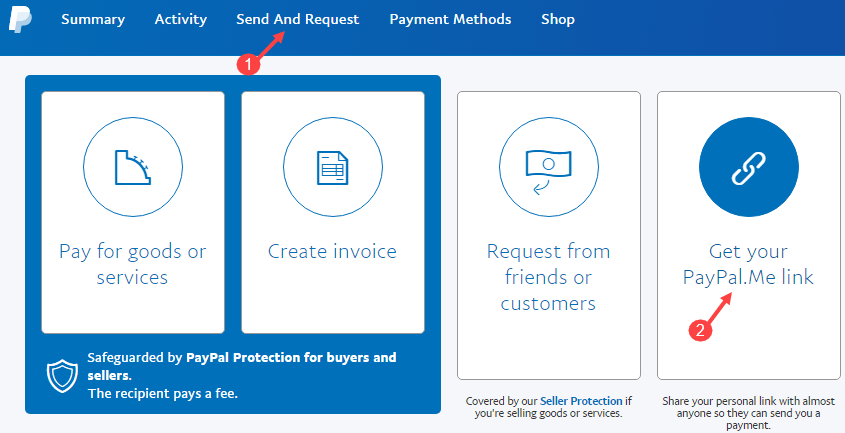 create paypal me link page