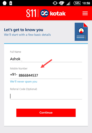 how to get crn number in kotak 811