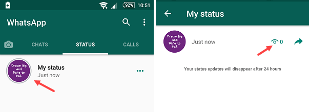 whatsapp text only status feature