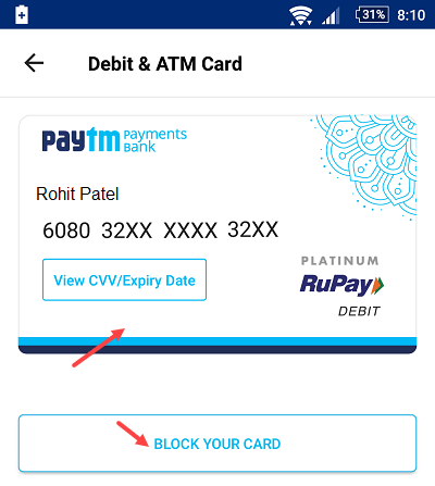 paytm saving account debit card