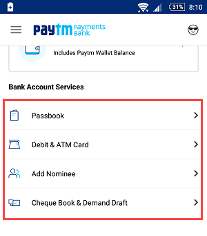 paytm saving account services