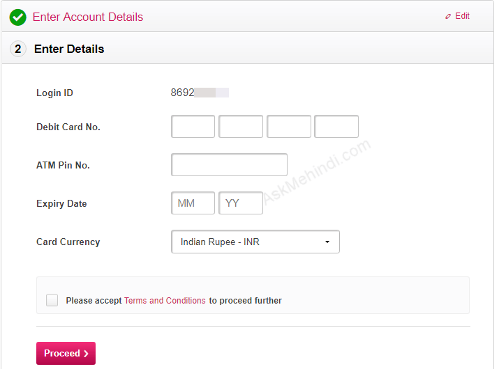 Axis Bank forgot login password reset