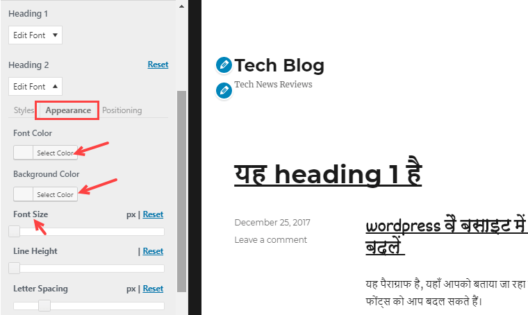 how to change post font family in wordpress css