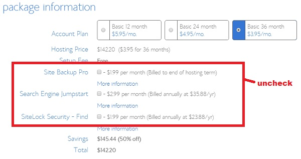 Bluehost hosting purchase