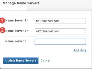 change nameserver bluehost