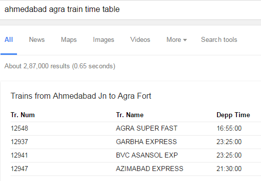 google search train time