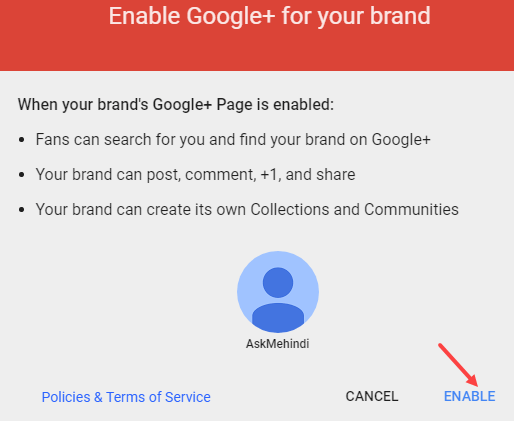 create Google+ brand page