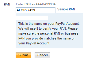 add pan card paypal